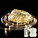 Fatpoom LED Rope Lights Battery Operated String Lights 40Ft 120 LEDs 8 Modes Outdoor Waterproof Fairy Lights Dimmable/Timer with Remote for Camping Party Halloween Christmas Decoration (Warm White)