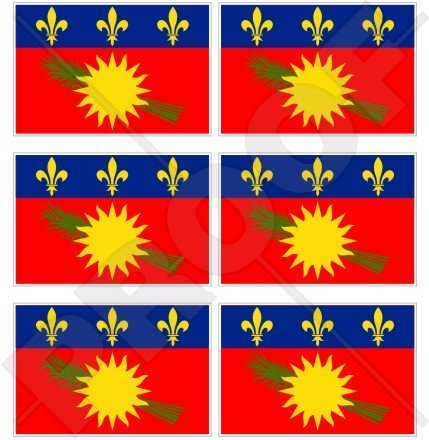 Guadeloupe Drapeau (Rouge) France gwadloup, Gwada Antilles 40 mm (40,6 cm) Téléphone Mobile Mini en vinyle autocollants, Stickers x6