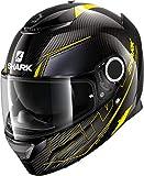 Casco de Moto Shark Spartan Carbon 1.2 Silicium DYA, Negro/Gris/Amarillo flúo, M