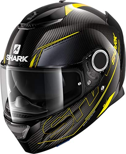 Shark CASCO MOTO SPARTAN CARBON 1.2 SILICIUM DYA, Nero/Grigio/Giallo Fluo, M
