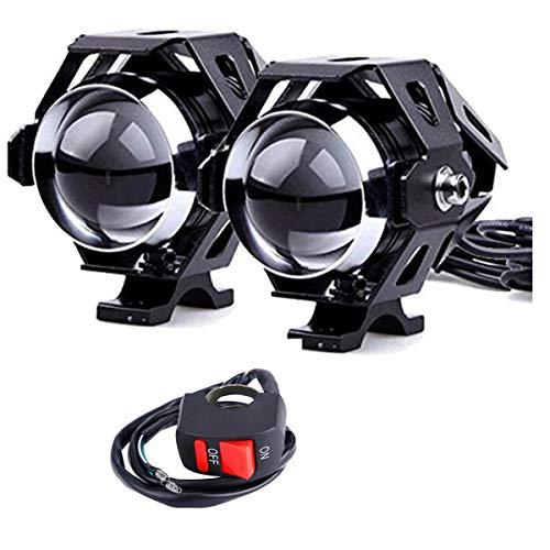 2 * U5 Motorrad Scheinwerfer, 1200LM 6500K Cree LED Scheinwerfer für DRL Scheinwerfer mit Fernlicht/Abblendlicht/Flash 3 Modelle mit ON/OFF Schalter Silber Farbe