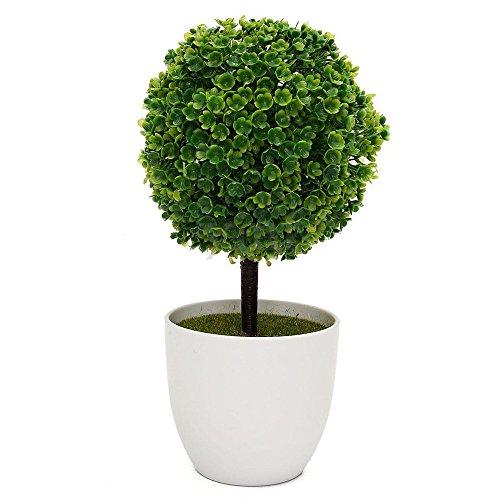 Topiaire artificiel en pot blanc pour décoration de jardin ou de maison, intérieur ou extérieur - Nykkola