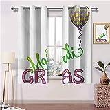 Painting-home Cortinas opacas con ojales Fleur de Lis en colores de carnaval antiguos festivales, diseño elegante en el campo, poliéster, Multi 08, 214x183 CM