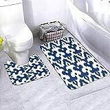 N/B Moroccan Ikat Damask Cobalt Blue and White Baño Alfombrilla antideslizante para el baño de baño Alfombrilla antideslizante almohadilla para decoración interior Set 2 unidades personalizado