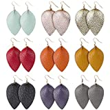 Genuine Leather Earrings Lightweight Teardrop Earrings - Handmade Leaf Dangle Antique Looking Petal Summer Earrings Set for Women Girls, 9 Pairs
