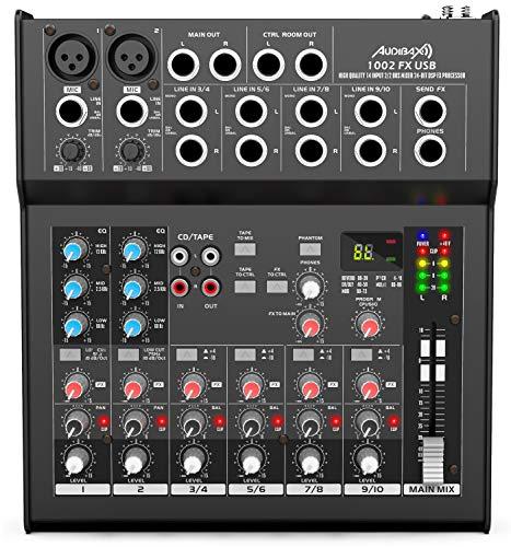 Audibax 1002 FX-USB - Mesa de Mezclas con 10 Canales, Interfaz de Audio USB, Mesa Dj Analógica, Procesador de Efectos Integrado, Ecualizador de 3 Bandas y Balance, 4 Entradas de Micrófono