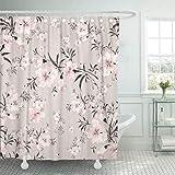 Tenda per doccia in tessuto con ganci Fiore colorato Floreale Acquerello Bouquet delicato W Rosa delicato Pastello Vintage Bellezza Bagno decorativo trattato per resistere al deterioramento della muff