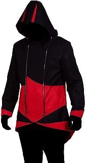 Cos2be Hoodie Jacket Coat (Black&Red,Women-XL)