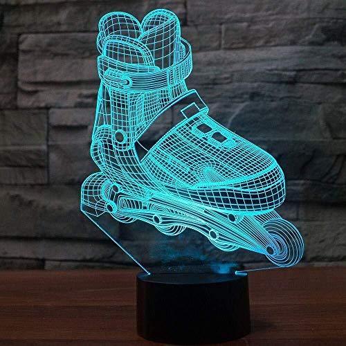3D Illusion Nachtlicht 7 farbe Led Vision Rollschuhe Schuhe Tisch Luminaria Kinder Kinderzimmer Dekorative Große bunte Kreative geschenk Fernbedienung