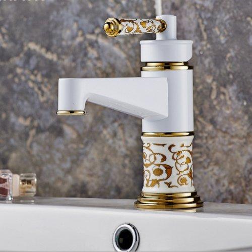 Retrò Fauceting Deluxe spedizione gratuita Europeo di bagno di lusso Conca d'oro rubinetto grigliate di pittura bianca verniciata a forno con finitura cromata maniglia singola,chiaro