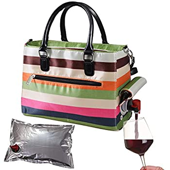 Primeware Insulated Drink Purse w/ 3L Bladder Bag | Thermal Hot and Cold Storage | Portable Drinking Dispenser for Wine Cocktails Beer Alcohol | PU Leather Finish  Stripe
