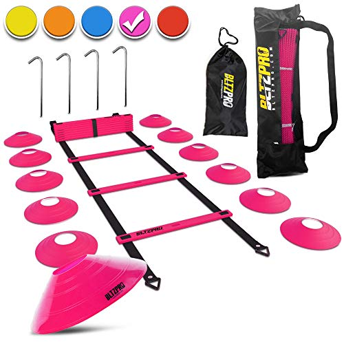 Bltzpro 20-Ft Agility Ladder Training Kit   Includes 12 Sports Cones, 4 Anchors, 2 Carry Bags, eBook   Soccer Exercise Equipment, Football Workout Gear, Footwork Speed Practice for Kids & Coaches