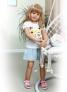 Reborn Toddler Dolls 39inch ,Huge Baby Full Body Hard Vinyl Smile Girl Realistic Anatomically Correct Blond Hair Age 2 Dress Model Collectible