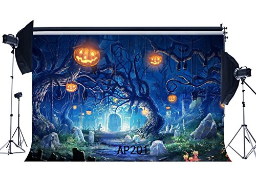 Haosphoto 7X5FT/210X150cm Happy Halloween Backdrop Horror Night Pumpkin Lamps Old Tree Branch Scary Tombstone Vinyl Photography Background Kids Adults Masquerade Cosplay Photo Studio Props AP201