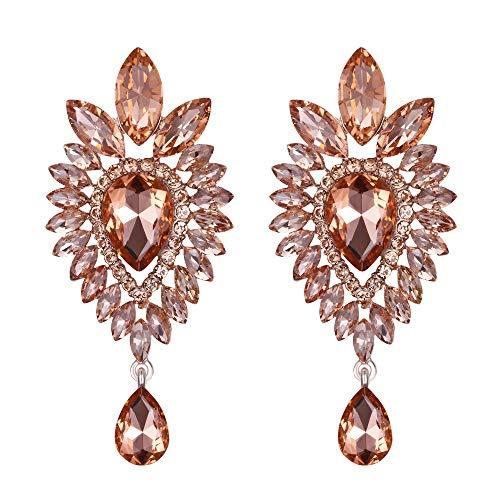Clearine Women's Tribal Ethnic Crystal Teardrop Halo Chandelier Dangle Earrings Morganite Color Rose-Gold-Toned