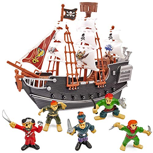 THE TWIDDLERS Pirate Ship with Model Pirates - Perfect Toy for Pirate Enthusiasts - Ideal indoor toys for kids for hours of play and entertainment