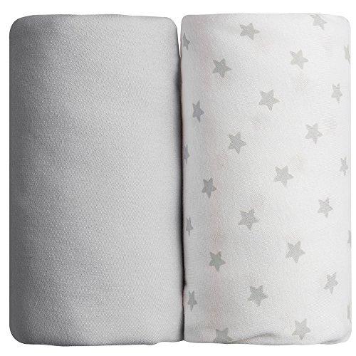 Lot de 2 draps housse gris uni + étoilés Babycalin - 60x120 cm