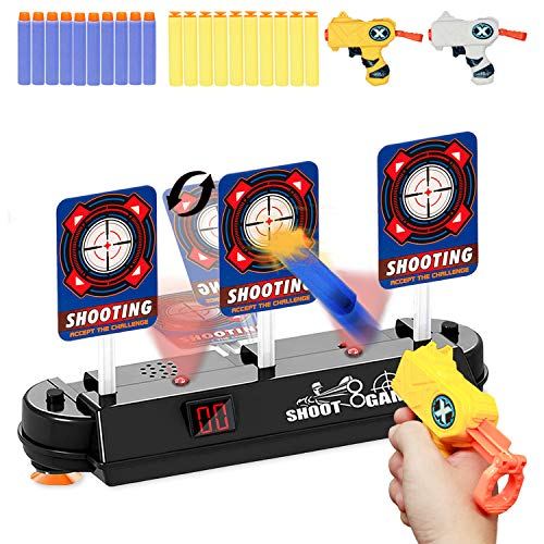 HONGKIT Gun Toys for 5 Year Old BoysElectric Scoring Auto Reset Digital Target Foam Bullet Compatible with NERF Guns Shooting Game 2020 Outdoor Toys for Kids 58 Birthday Gifts for 7 Year Old boy