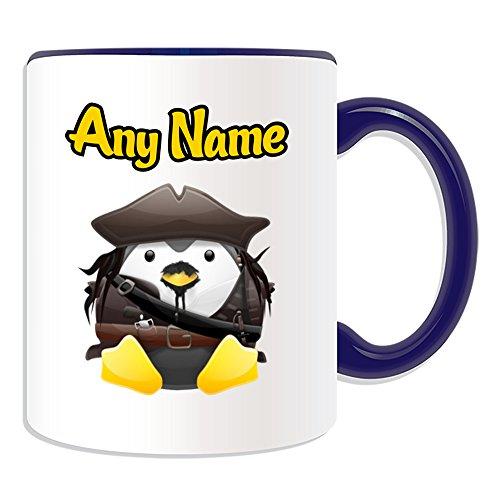 Taza de regalo personalizable con diseño de personaje de película de pingüino, opciones de color, cualquier nombre/mensaje en tu único, disfraz de superhéroe piratas del Caribe
