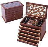 Joyas de caja de joyas Organizador de joyería de madera, Caja de almacenamiento de joyas
