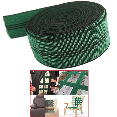 AUXPhome Cinta elástica de látex 10% elástica, para tapicería, cinta elástica, carrete de 5 cm de ancho x 20 pies, para reparación de muebles, bricolaje o reemplazo