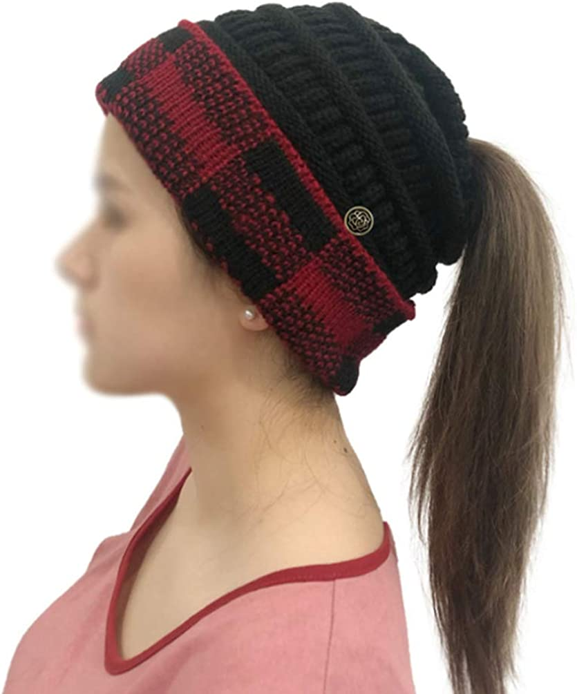 VIVIAN & VINCENT Buffalo Plaid Checker Fleeced Fuzzy Lined Unisex Chunky Thick Warm Stretchy Beanie Hat Cap