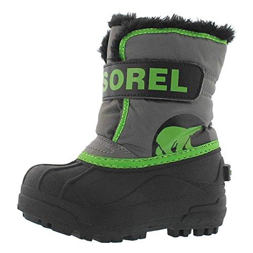 Sorel Childrens Snow Commander Unisex-Kinder Schneestiefel, Grau (Quarry, Cyber Green), 26 EU