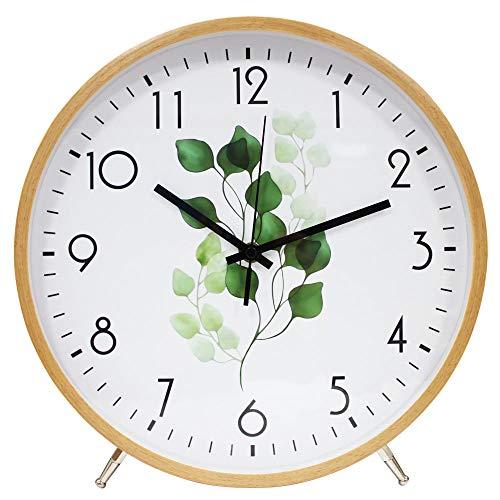 ALEENFOON 12 Inch Holz Uhr Modern Leise Wanduhren 30cm Tischuhr für Wohnzimmer Küche Ohne Tickgeräusche Innenuhr Nicht Tickende Wanduhren Hängende Uhr (Blatt)