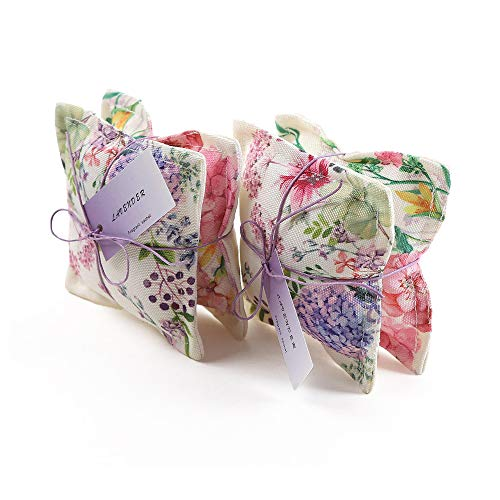Aucuda Scented Lavender Fabric Pillow Sachet Bags Lot of 4 for Closets and Drawers Linen, Great Gift for Housewarming, Bridal Party,Hostess,Linen, Lavender Scent