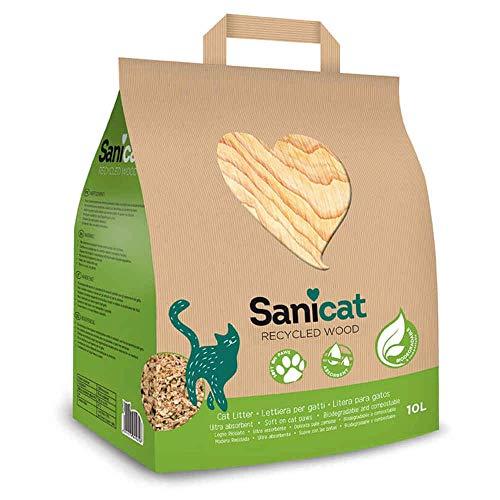 Sanicat - Litière Agglomérante Recyclée Bois pour Chat - 10L