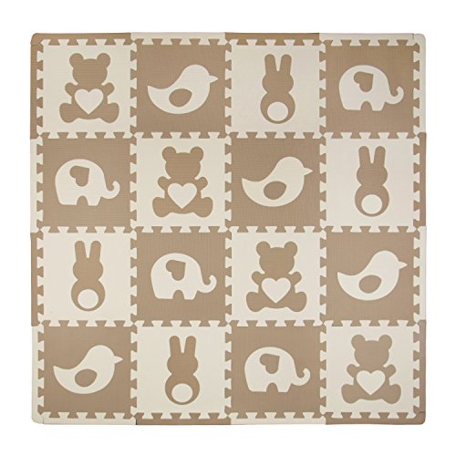 Tadpoles Baby Play Mat, Kid's Puzzle Exercise Play Mat – Soft EVA Foam Interlocking Floor Tiles, Cushioned Children's Play Mat, 16pc, Teddy and Friends, Brown, 50x50