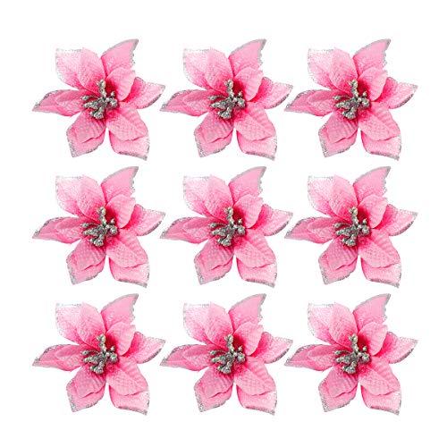 TOYANDONA 24pcs Glitter Christmas Flower Poinsettias Christmas Tree Decorations Ornaments Christmas DIY Crafts Pink