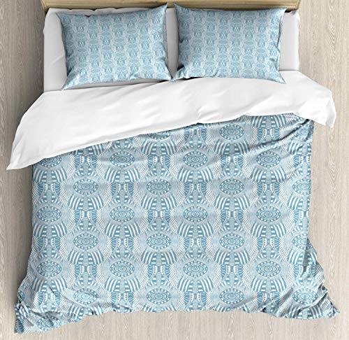Vintage Egyptian Print Double Bedding Duvet Cover 3 Piece, Monochrome Abstract Feather Ornaments Folklore, Soft Bedding Protects Comforter with 1 Comforter Cover 2 Pillow Case, Pale Slate Blue White