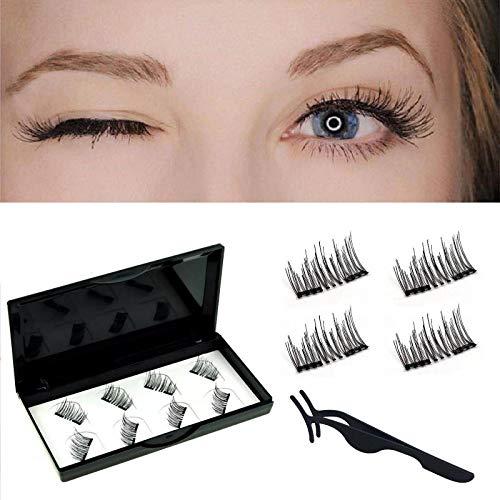 Upgraded No Glue Magnetic Eyelashes Natural Look, Half Eye 2 Magnets Reusable False Eyelashes with Applicator (black) (black)