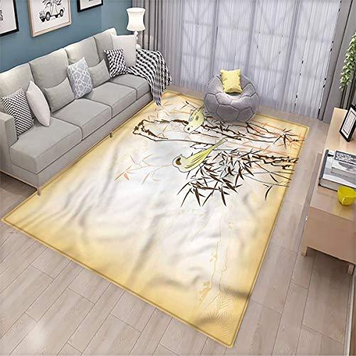 Alfombra de bambú para salón, diseño de hojas y pájaros en la rama, de microfibra, calidad de 6 x 9 pies