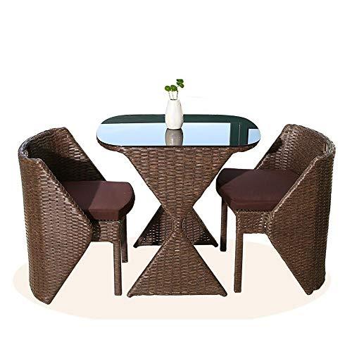 Juegos de muebles de jardín Conjuntos de ratán Muebles de jardín, Forma Creativa Clepsidra Patio mesa y sillas Conjuntos de cristal mesa de centro superior juego de patio de jardín al aire libre junto