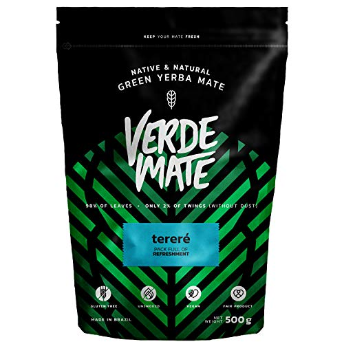 Verde Mate Green Terére 500g, Yerba Mate Té Terére, Yerba Mate de Brasil, Yerba Mate Refrescante, Sin Gluten, Secada sin Humo