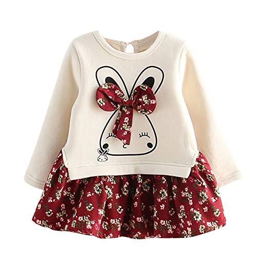 MOIKA Baby Mädchen Kleider, (24 Monate - 6 Jahre) Kleinkind Kinder Baby Mädchen Cartoon Kaninchen Hase Floral Princess Party Dress Clothes