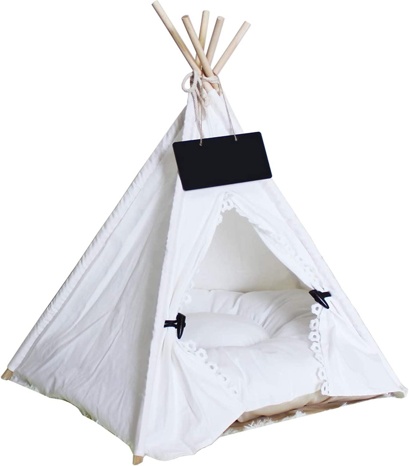 Penck Pet Teepee Dog Cat Bed  Portable Pet Tents Houses for Dog(Puppy) or Cat with Cushion 24 Inch Tall