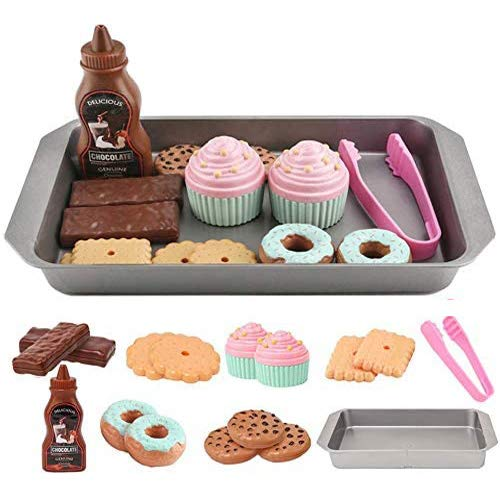 ELitao Cookie Play Food Set, Play Food for Kids Kitchen - Toy Food Accessories - Toy Foods with Play Baking Cookies and Cupcakes Plastic Food for Pretend Play, Kids Toddler Childrens Birthday Gifts