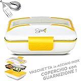 SPICE - Amarillo Inox scaldavivande Elettrico vaschetta Estraibile Acciaio Inox - Coperchio con Guarnizione - Portatile Box portavivande Termico (0,9 L)