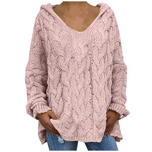lbert Oversize Sweater Damen Strickpullover Frauen Sexy Pullover Kapuze Langarm Shirt V-Ausschnitt Casual T-Shirt