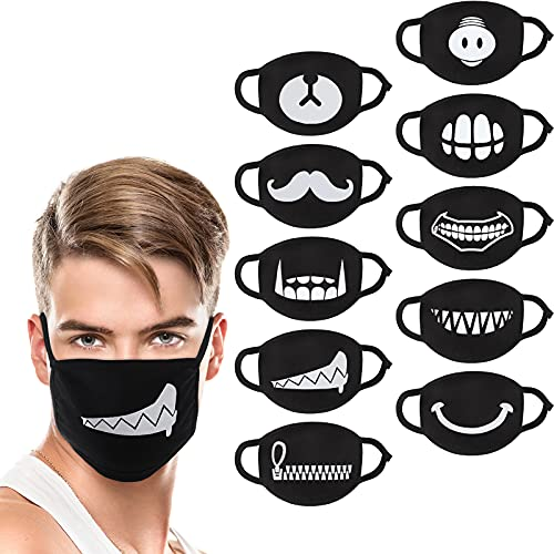 10 Pieces Cool Anime Face Mask Cartoon Mouth Mask Anti Dust Unisex Mouth Mask Reusable Washable Funny Mask for Children Adults Man Woman, Black