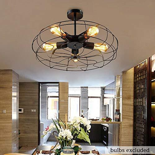 OUKANING Deckenventilator mit Beleuchtung Vintage Retro Pendelleuchte, Industrie Fan Kronleuchter Deckenlampen E27 Retro Hängelampe Loft Lampe Leuchte Haus
