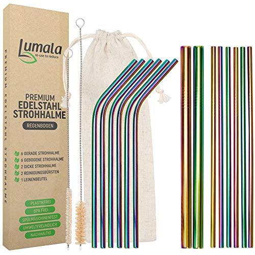 Lumala | 14 Plastikfreie Wiederverwendbare Edelstahl Strohhalme | Trinkhalme aus Metall, umweltschonend, nachhaltig + 2 extra breite Trinkrohre für Cocktail, Bubble Tea (Regenbogen)