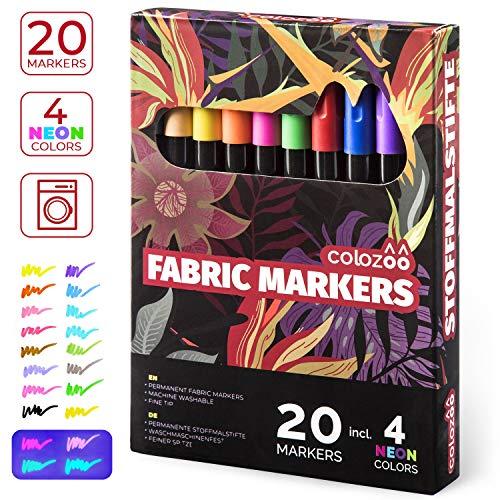 Marqueur textile résistant à la machine à laver | 20 couleurs inclus 4 couleurs UV Néon fluorescentes | Pour t-shirt, Jean, chaussure, sacs, chapeaux, coton, cuir, polyester et plus