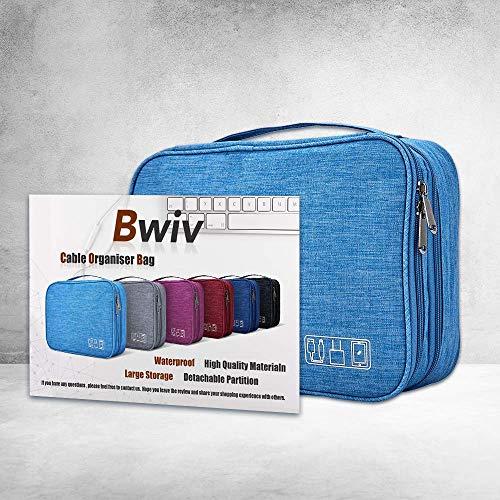 LIVACASA Kabeltasche Wasserdicht Elektronische Tasche Universal Festplattentasche Groß Kabel Organizer Tasche Elektronik Zubehör Organisator für Handy Ladekabel Powerbank USB Sticks SD Karten Blau