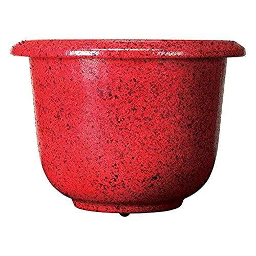 Novelty Round Glazetone Planter, 12-Inch, Fire Red