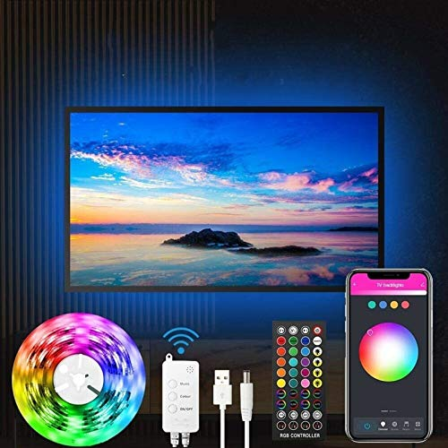Música sincrónica de 46-60 pulgadas TV 3M Bluetooth Charaan LED Light Strip, WiFi Smart TV LED control remoto con control remoto 3M, Modo de música y escena, Luz LED de TV RGB con puerto USB para TV.