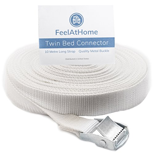 FeelAtHome Strap for Twin Beds - Twin to King Bed Mattress Joiner Converter, Twin Connector for Converting Split Twins or Twin XL to King | 33ft Long Connecting Belt Strap Convert Twin Beds into King